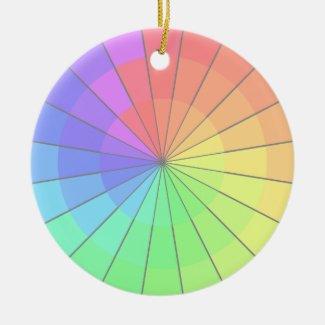 Pastel Spectrum Colors Rainbow Holiday Art Ceramic Ornament