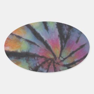 Pastel Spiral Swirl Tie Dye Oval Sticker