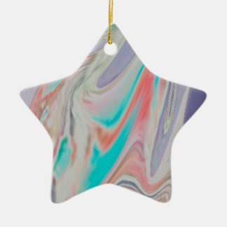 Pastel Spring Dye Swirls Ceramic Ornament