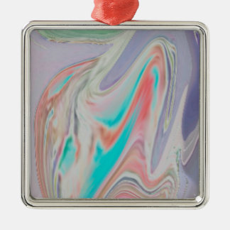 Pastel Spring Dye Swirls Metal Ornament