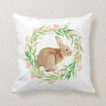 Pastel Spring Easter Bunny Wreath Throw Pillow