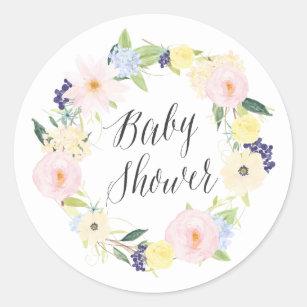 Pastel Spring Floral Wreath Baby Shower Stamp Classic Round Sticker
