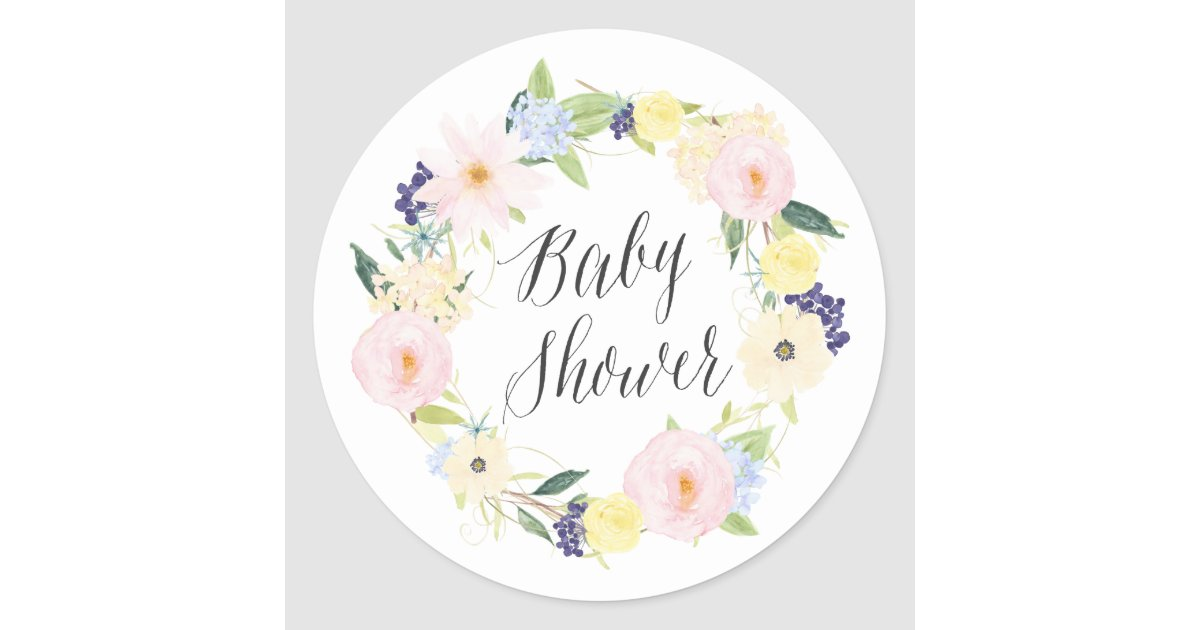 80bed2ea5 Pastel Spring Floral Wreath Baby Shower Stamp Classic Round Sticker ...