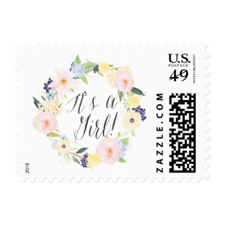 Pastel Spring Floral Wreath Bbay Shower Stamp