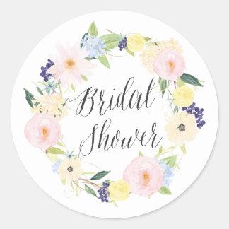 Pastel Spring Floral Wreath Bridal Shower Stamp Classic Round Sticker