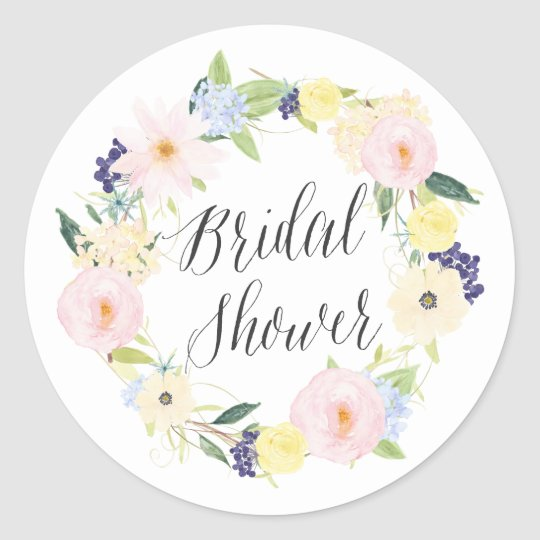 a1e1b2fc6 Pastel Spring Floral Wreath Bridal Shower Stamp Classic Round Sticker