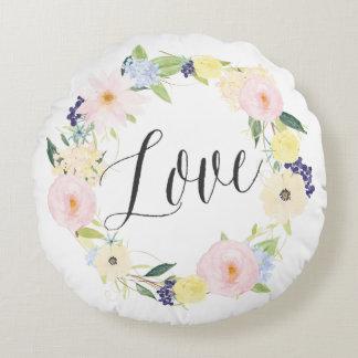 Pastel Spring Floral Wreath | Love Round Pillow