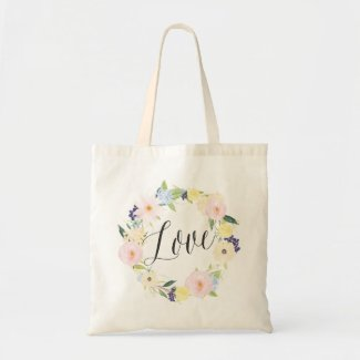 Pastel Spring Floral Wreath | Love Tote Bag