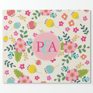 Pastel Spring Flower Pattern Custom Monogram Wrapping Paper