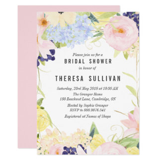 Pastel Spring Flowers Bridal Shower Invitation