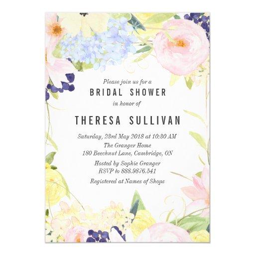 Pastel Spring Flowers Bridal Shower Invitation | Zazzle