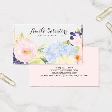 Professional Business Pastel Spring Flowers Personalized Business Card