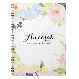 Pastel Spring Flowers Personalized Notebook