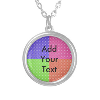 Pastel Squares Round Pendant Necklace