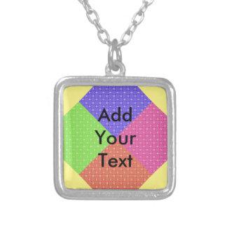 Pastel Squares Square Pendant Necklace