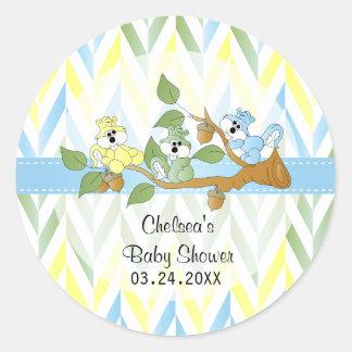 Pastel Squirrel Baby Boy Shower Classic Round Sticker