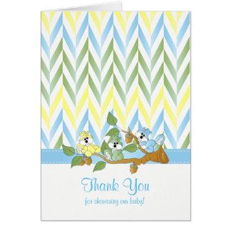 Pastel Squirrel Baby Boy Shower Thank You Card