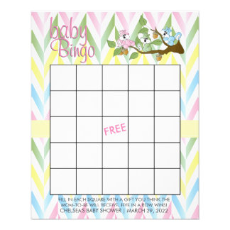 Pastel Squirrel Baby Girl Shower - Bingo Flyer