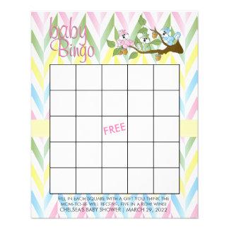 Pastel Squirrel Baby Girl Shower - Bingo Flyer
