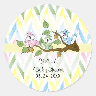Pastel Squirrel Baby Girl Shower Classic Round Sticker