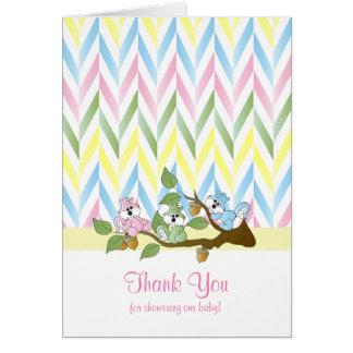 Pastel Squirrel Baby Girl Shower Thank You Card