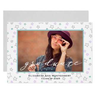 Pastel Stars Graduation Photo Card