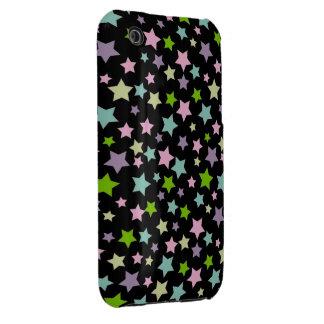 Pastel stars pattern on black Case-Mate iPhone 3 case
