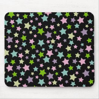 Pastel stars pattern on black mouse pad