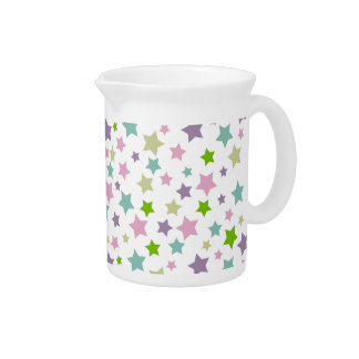 Pastel stars pattern on white drink pitcher