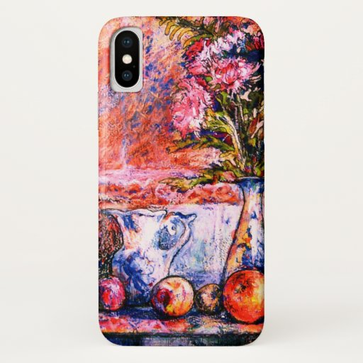 Pastel still life with oranges and aster flowers iPhone XS case
