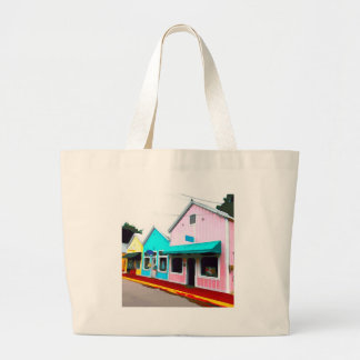 Pastel Stores in Key West Large Tote Bag