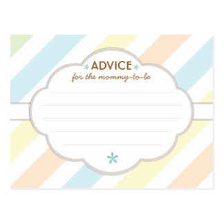 Pastel Stripe Baby Shower Advice for Mommy to Be Postcard