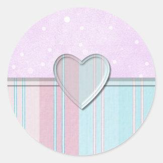 Pastel Stripe Heart Classic Round Sticker