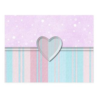 Pastel Stripe Heart Postcard
