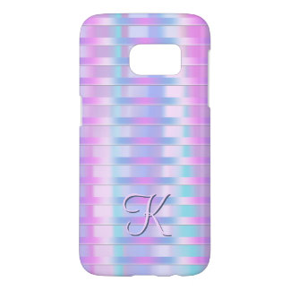 Pastel Stripe Monogram Samsung Galaxy S7 Case