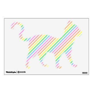 Pastel Striped Cat Room Sticker