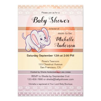Pastel Striped Elephant Baby Shower Invitation