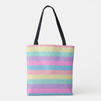 Pastel Striped Sweater Tote Bag
