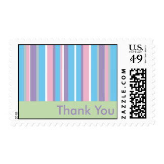 Pastel Striped Thank You Card Postage Stamp