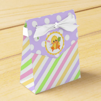 Pastel Stripes and Dots with Easter Chick Favor Box