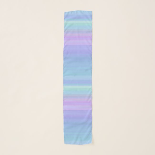 Pastel Stripes Blue Purple Green Chiffon Scarf
