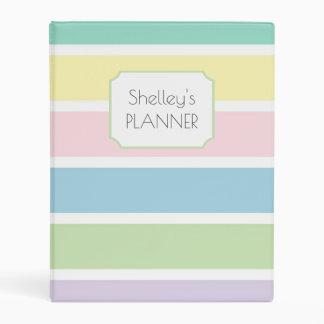 Pastel stripes daily planner mini binder