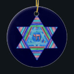 """Pastel Stripes Hanukkah Star Ornament<br><div class=""""desc"""">A digital collage, in pretty pastel stripes; a Star of David with a Chai (life) symbol at the center.  Light and dark blue backgrounds on each side are customizable!</div>"""
