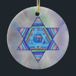 """Pastel Stripes Hanukkah Star Ornament<br><div class=""""desc"""">A digital collage, in pretty pastel stripes; a Star of David with a Chai (life) symbol at the center on a pale pastel starburst background.</div>"""