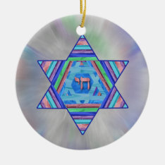 Pastel Stripes Hanukkah Star Ornament at Zazzle