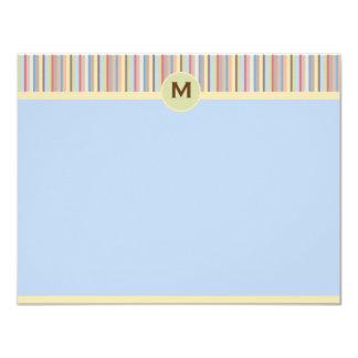 "Pastel Stripes Note Card 4.25"" X 5.5"" Invitation Card"