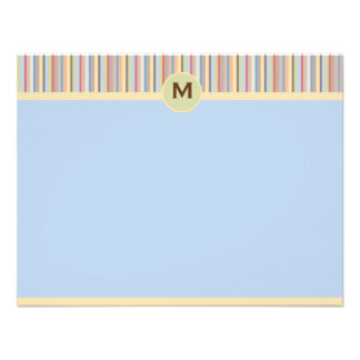 Pastel Stripes Note Card Personalized Invitations