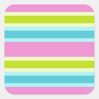 Pastel Stripes stickers, customize Square Sticker