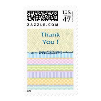 Pastel Stripes Thanks Postage