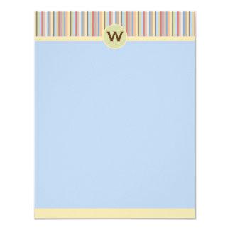 "Pastel Stripes Vertical Note Card 4.25"" X 5.5"" Invitation Card"